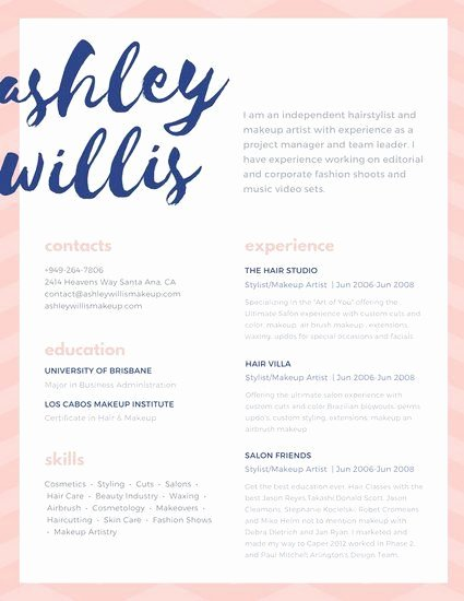 Creative Hair Stylist Resume Templates Awesome Pink Blue Script Creative Makeup Artist Resume