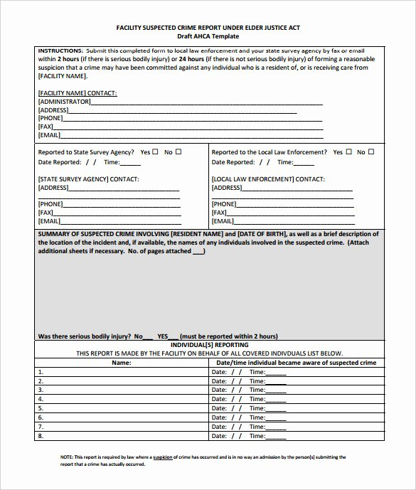 Crime Scene Report Template Beautiful 11 Sample Crime Reports Pdf Word