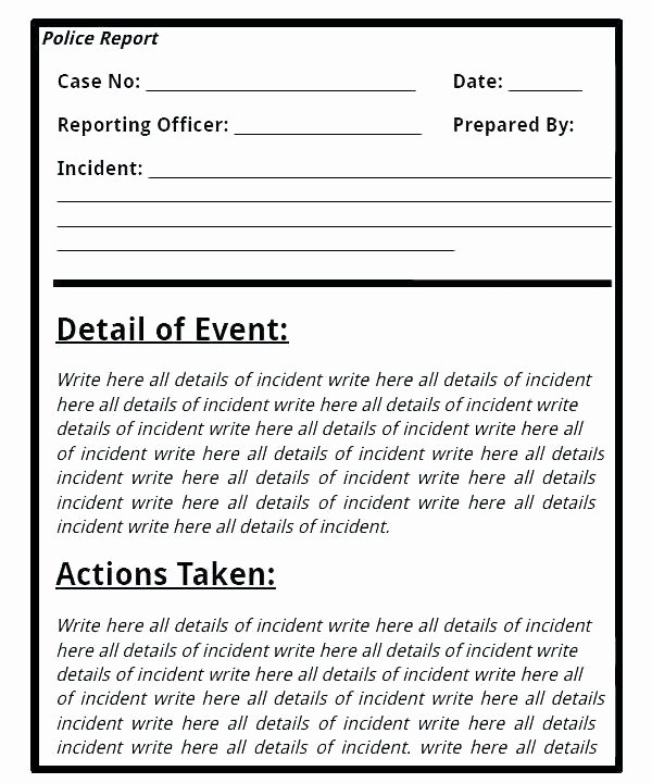 Crime Scene Report Template Unique Police Investigation Report Template