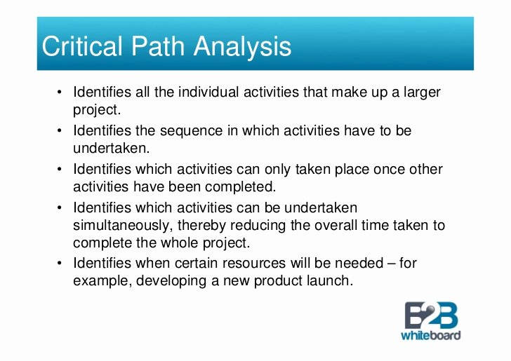 critical path analysis for a new product release