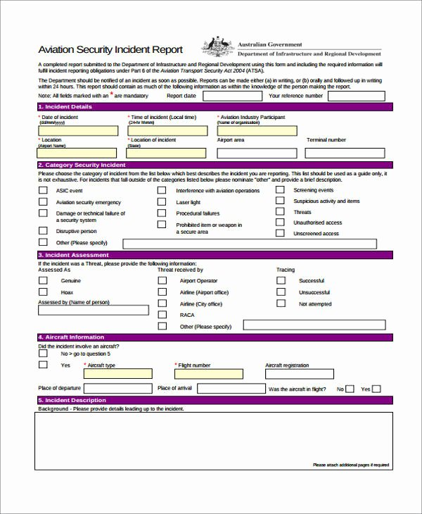 Cyber Security Incident Report Template Awesome Free 40 Sample Incident Report forms In Pdf