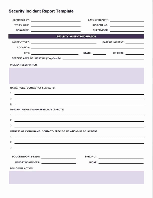 Cyber Security Incident Report Template Awesome Free Incident Report Templates Smartsheet
