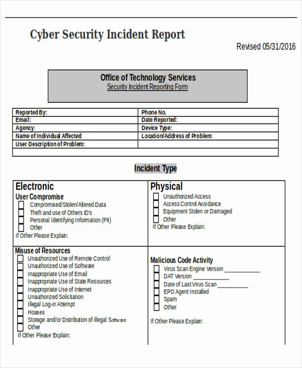 Cyber Security Incident Report Template Beautiful 39 Incident Report Templates In Word