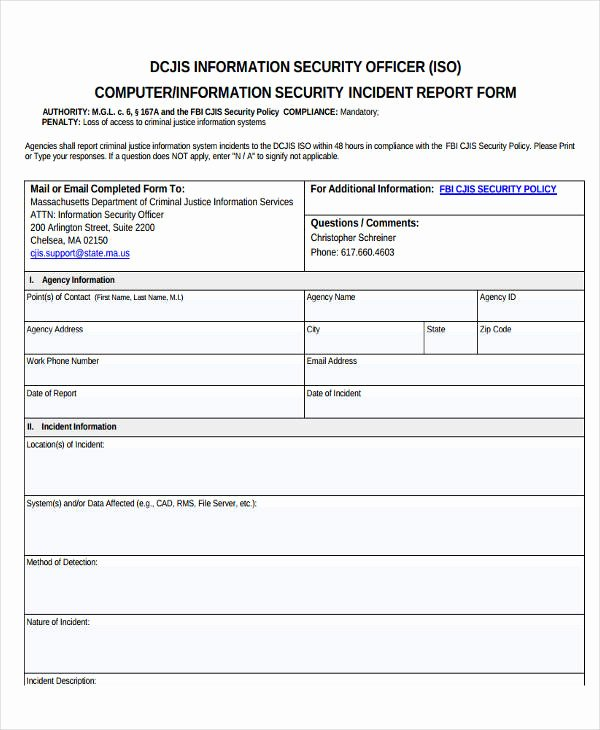Cyber Security Incident Report Template Best Of 41 Incident Report Samples Word Pdf Docs
