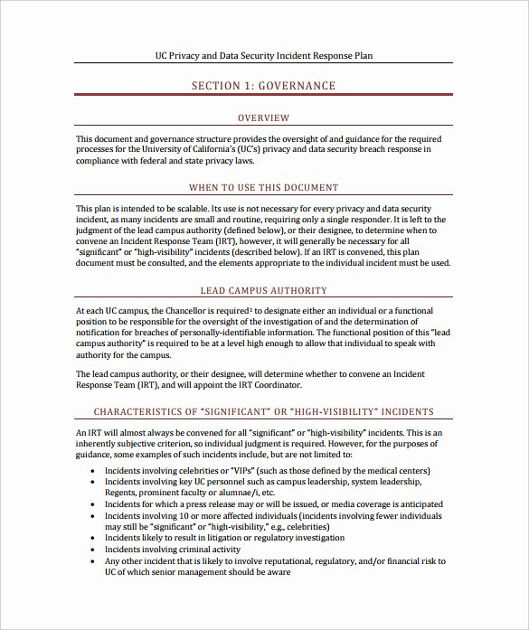 Cyber Security Incident Report Template Elegant 11 Incident Response Plan Templates Pdf Word format