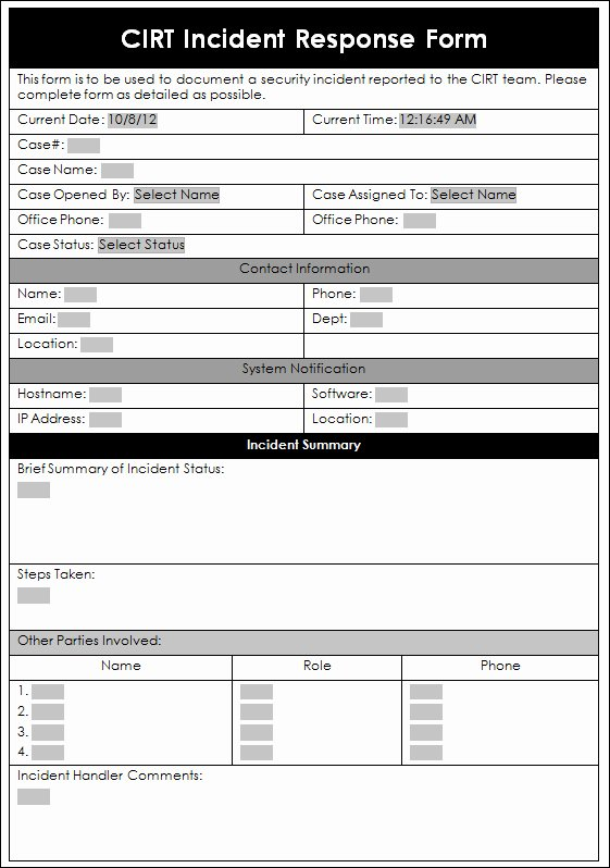 Cyber Security Incident Report Template Inspirational A Sample Incident Response form Enterprise Security A
