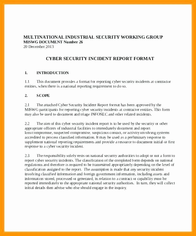 Cyber Security Incident Report Template Inspirational Information Security Incident Report Template
