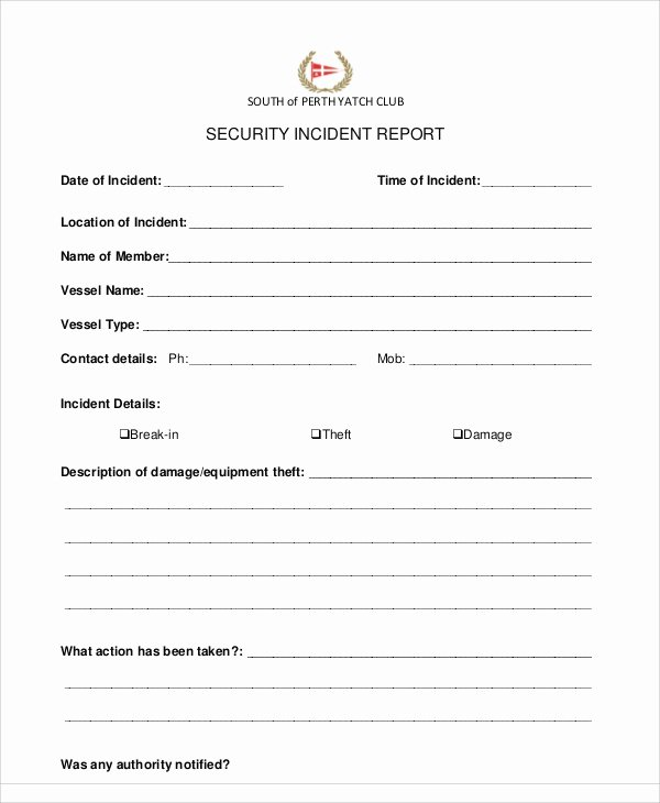 Cyber Security Incident Report Template Lovely 10 Sample Security Incident Reports Pdf Word Pages