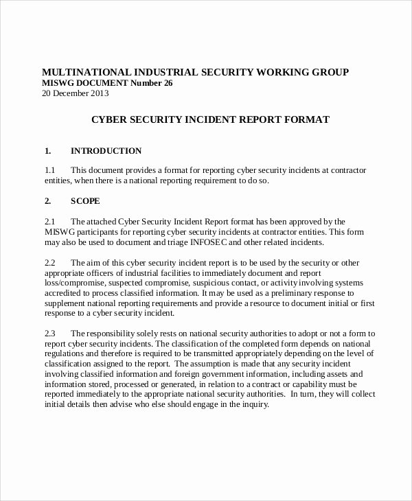 Cyber Security Incident Report Template Unique 10 Sample Security Incident Reports Pdf Word Pages