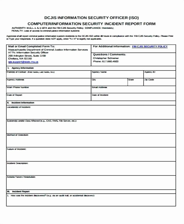 Cyber Security Incident Report Template Unique Information Security Incident Report Template