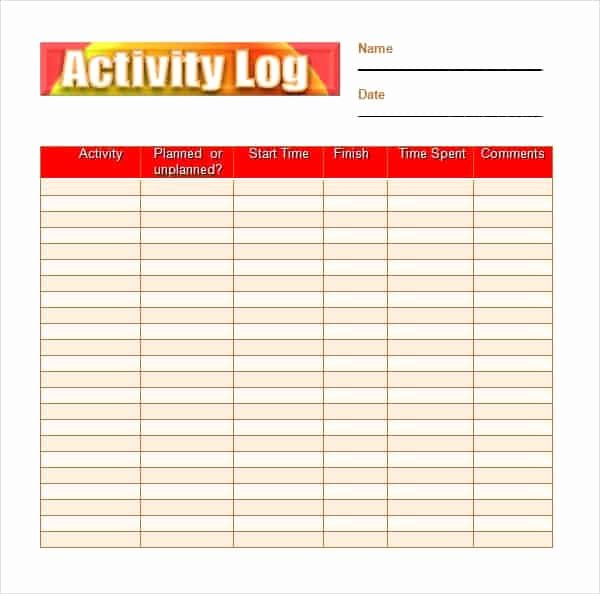 Daily Activity Log Template Excel Beautiful 10 Daily Activity Log Templates Word Excel Pdf formats