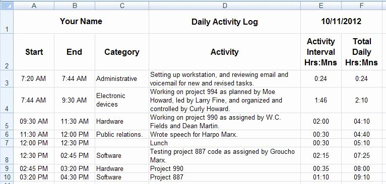 Daily Activity Log Template Excel Beautiful Dave S Tech Docs Creating Daily Activity Logs Through Ms