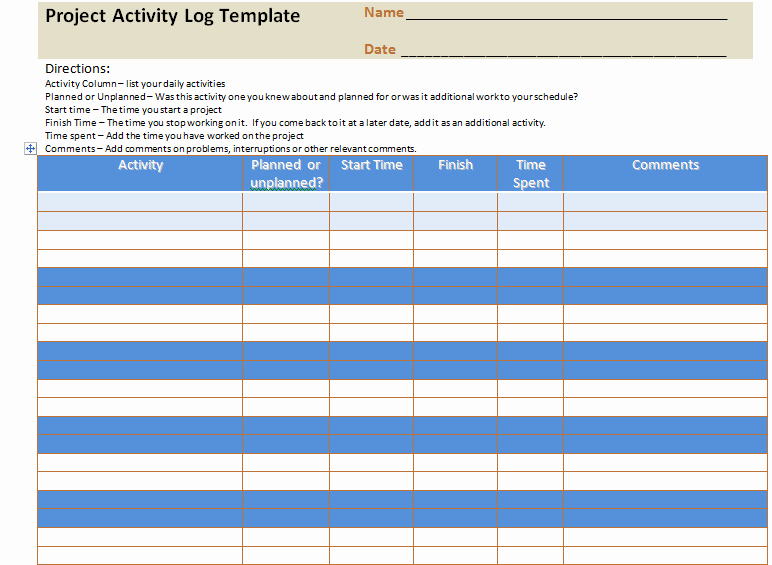 Daily Activity Log Template Excel Beautiful Project Activity Log Excel Template Project Management