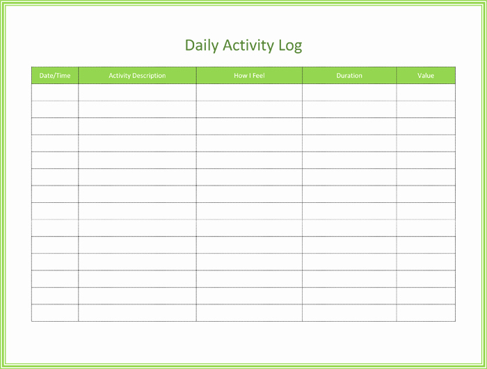 Daily Activity Log Template Excel Elegant 5 Activity Log Templates to Keep Track Your Activity Logs