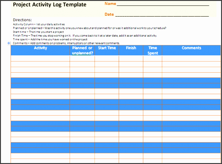 Daily Activity Log Template Excel Fresh 7 Editable Daily Activity Log Template Sampletemplatess