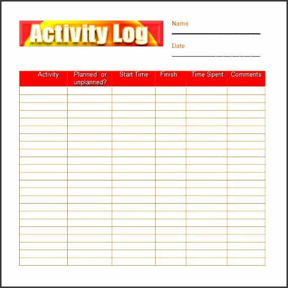 Daily Activity Log Template Excel Fresh 8 Daily Work Log Template Easy to Edit Sampletemplatess