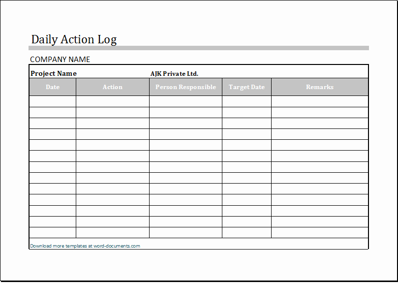 Daily Activity Log Template Excel Fresh Daily Log Template Excel – Printable Schedule Template