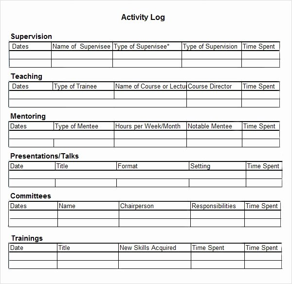 Daily Activity Log Template Excel Inspirational Activity Log Template – 12 Free Word Excel Pdf