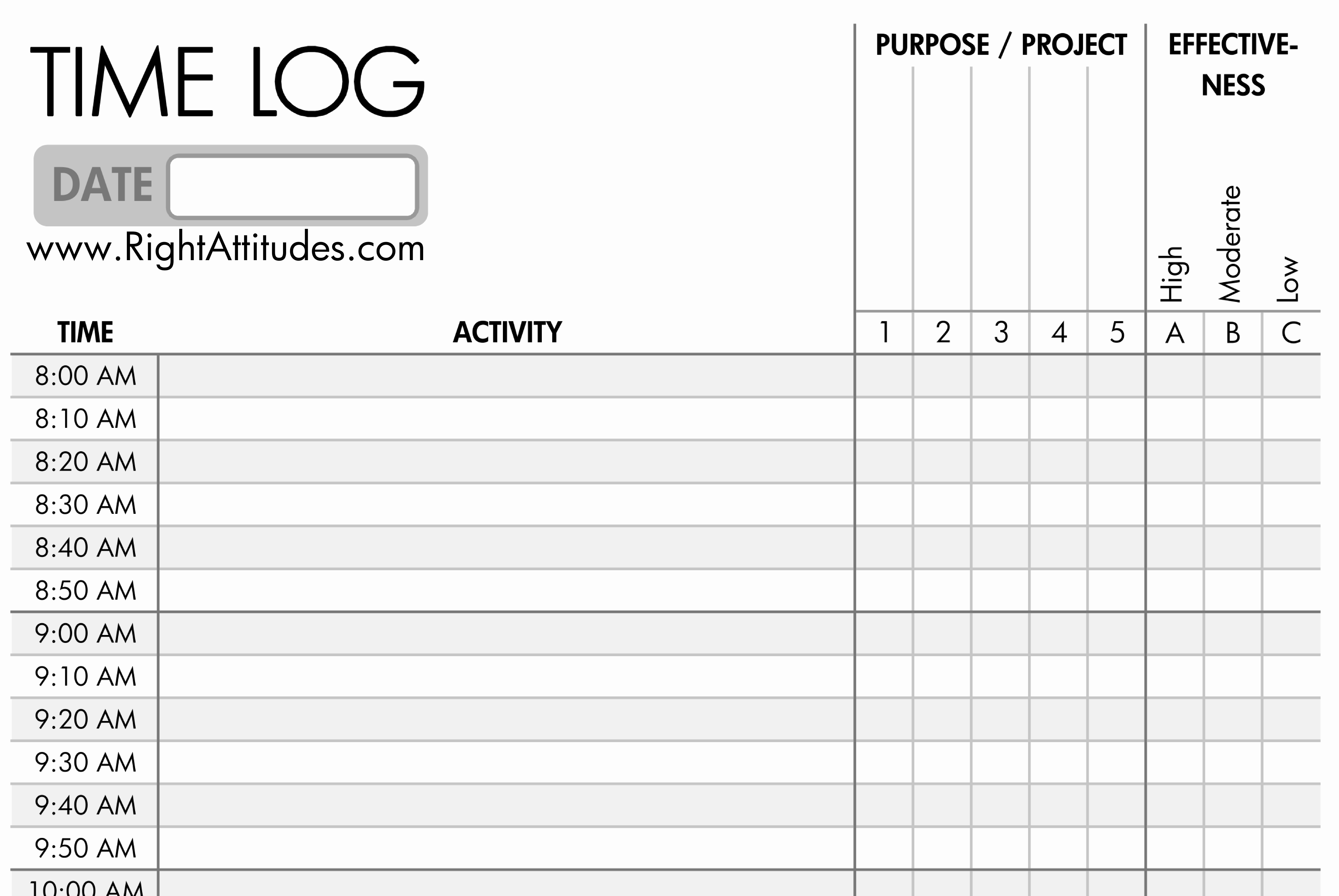 Daily Activity Log Template Excel Unique 7 Best Of Printable Daily Time Log Daily Work Log