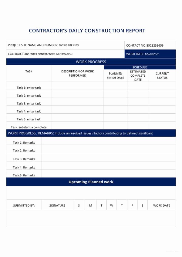 Daily Construction Report Template Awesome 24 Construction Report Templates Pdf Word