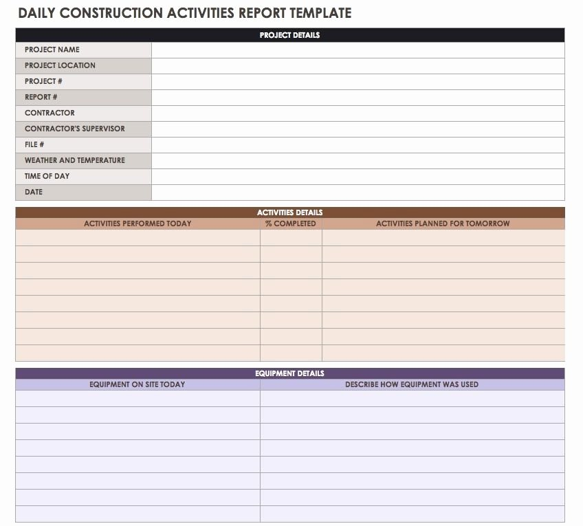 Daily Construction Report Template Awesome Construction Daily Reports Templates or software Smartsheet