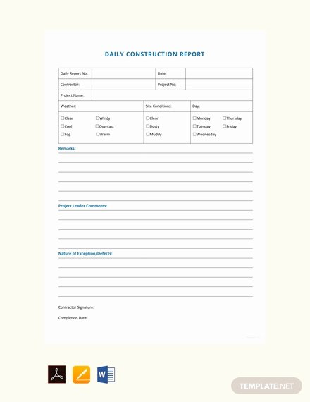 Daily Construction Report Template Beautiful Free Daily Construction Report Sample Template Download