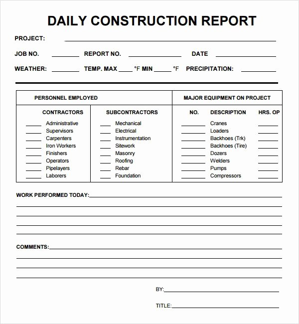 Daily Construction Report Template Lovely Construction Daily Report Template Excel
