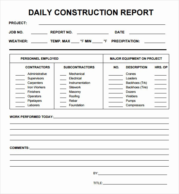 Daily Construction Report Template Luxury Best S Of Daily Report Template Daily Production