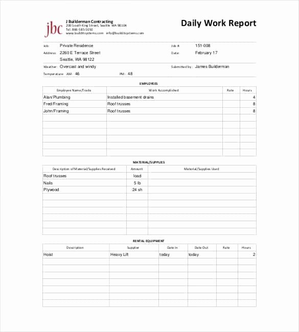 Daily Construction Report Template Luxury Daily Report Templates 8 Free Samples Excel Word