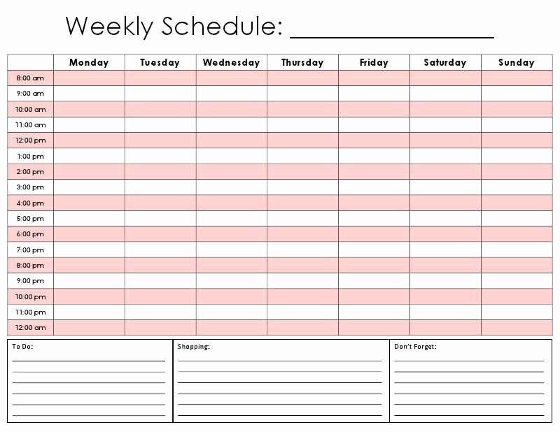 Daily Hourly Schedule Template Elegant Printable Hourly Daily Calendar Template