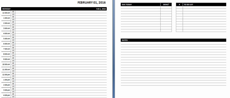 Daily Hourly Schedule Template Lovely Line Planner Template – Planner Template Free