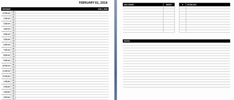 Daily Hourly Schedule Template Luxury Daily & Weekly Ms Word Planner Templates