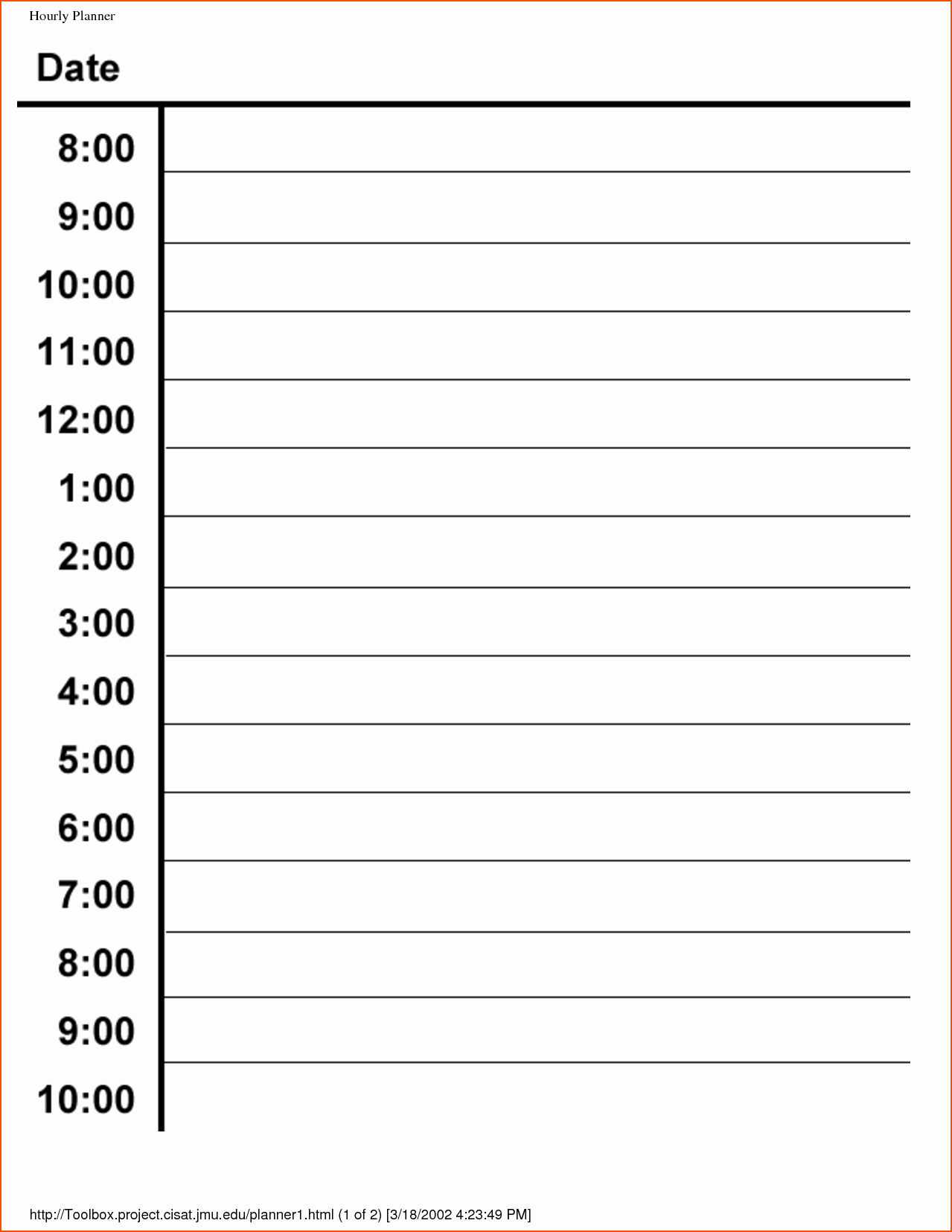 Daily Hourly Schedule Template Unique 6 Hourly Planner Bookletemplate