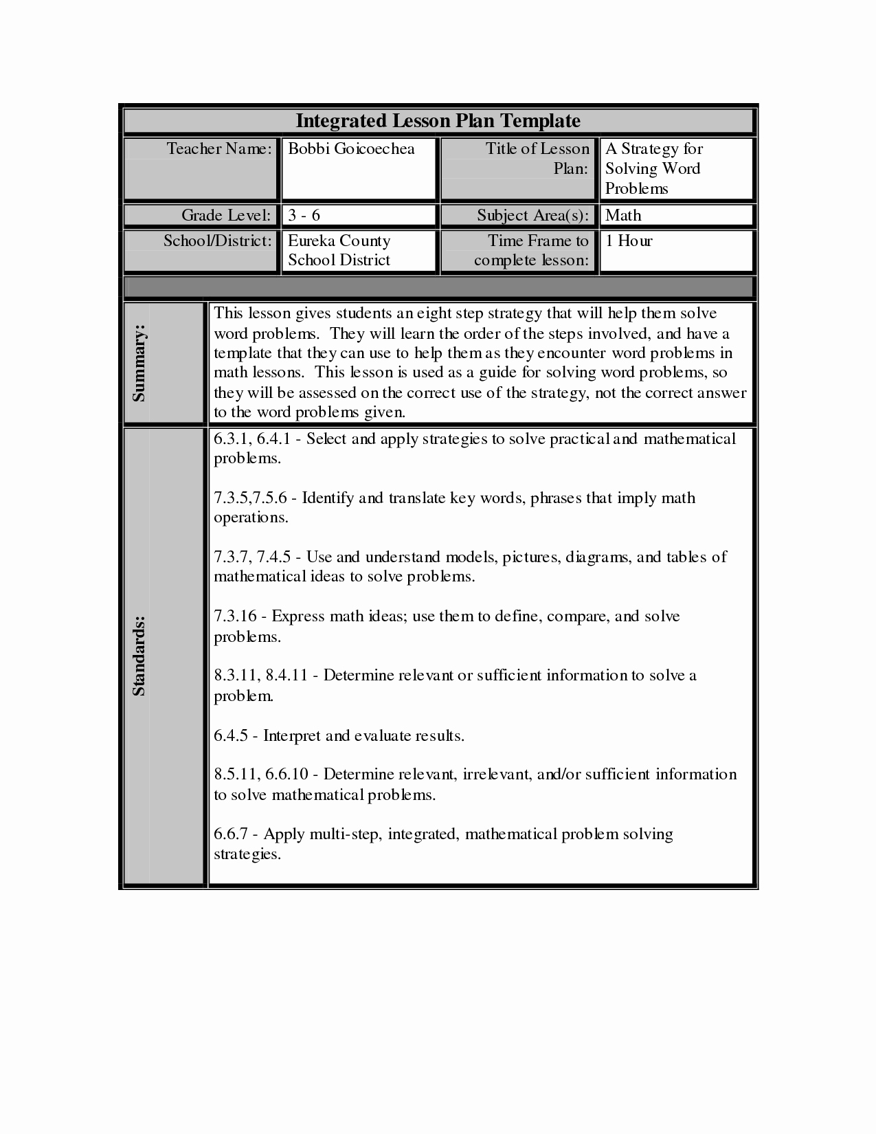 Daily Lesson Plan Template Word Elegant Best S Of Math Lesson Plan Template Math Lesson