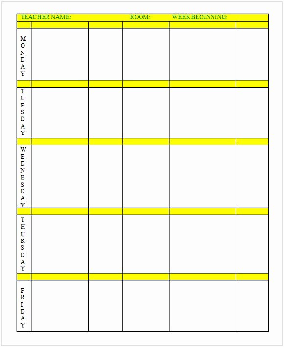 Daily Lesson Plan Template Word Fresh Weekly Lesson Plan Template Word