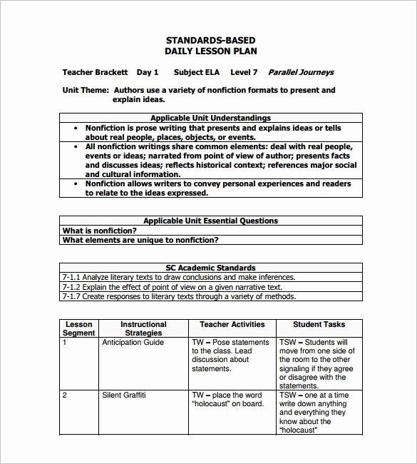 Daily Lesson Plan Template Word Inspirational Sample Lesson Plan Template