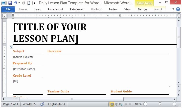 Daily Lesson Plan Template Word Luxury Microsoft Word Template for Making Daily Lesson Plans