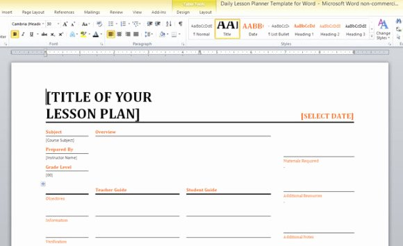 Daily Lesson Plan Template Word Unique Daily Lesson Planner Template for Word