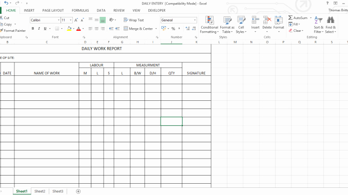 Daily Report Template Excel Awesome Daily Work Report Excel Sheet