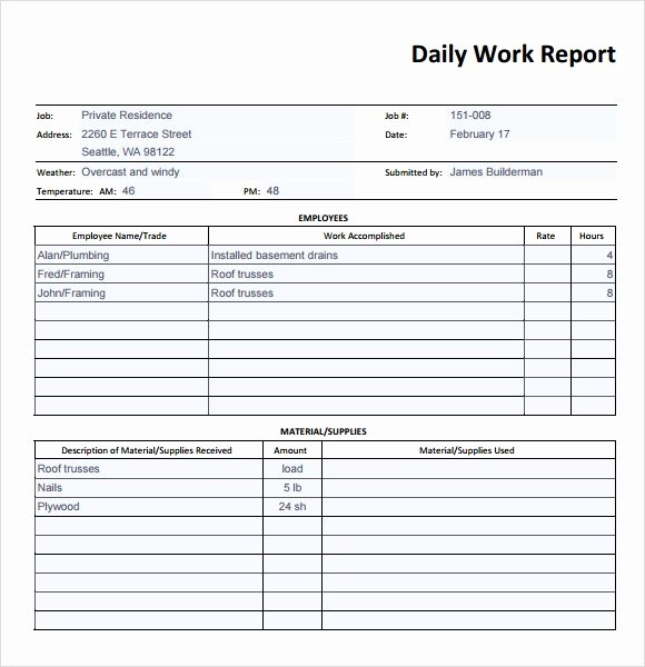 Daily Report Template Excel Fresh 18 Daily Work Report Templates Free Word Excel Samples