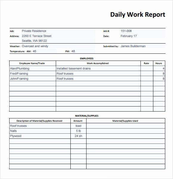 Daily Report Template Excel Luxury Free 26 Sample Daily Reports In Google Docs