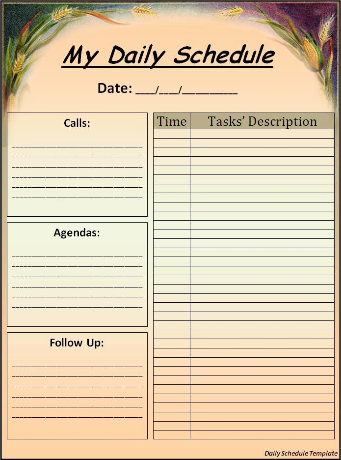 Daily Schedule Template Free Fresh Daily Schedule Template