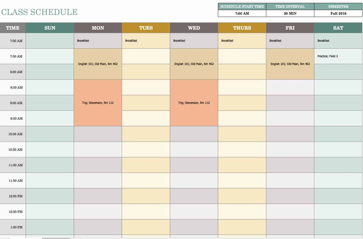 Daily Schedule Template Free Inspirational Free Weekly Schedule Templates for Excel Smartsheet