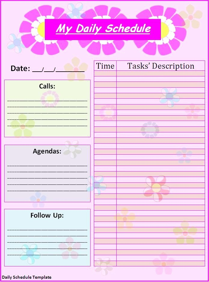 Daily Schedule Template Free Lovely Schedule Templates Free Printable