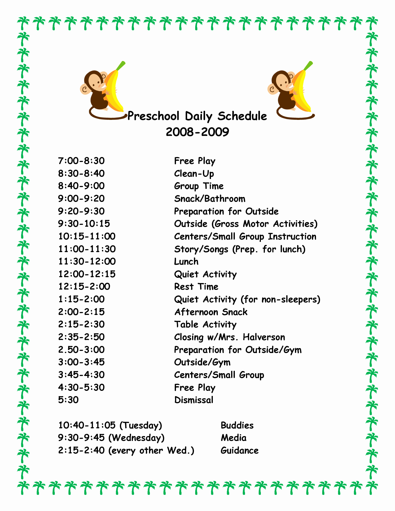 Daily Schedule Template Free New 29 Of Day Care Classroom Template