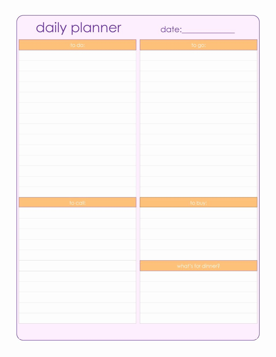 Daily Schedule Template Free New 47 Printable Daily Planner Templates Free In Word Excel Pdf