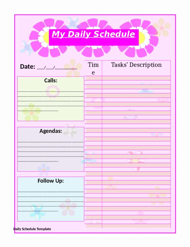 Daily Schedule Template Printable Elegant top 25 Best Daily Schedule Template Ideas On Pinterest