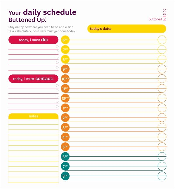 Daily Schedule Template Printable Luxury Sample Printable Daily Schedule Template 17 Free