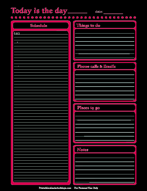 Daily Schedule Template Printable Unique Daily Planner Template Free Printable Daily Planner for
