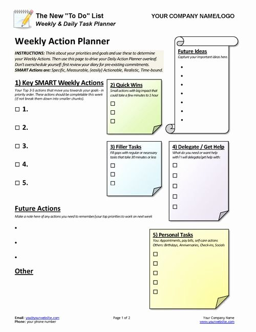 Daily Task List Template Word Elegant Productivity & Time Management toolkit